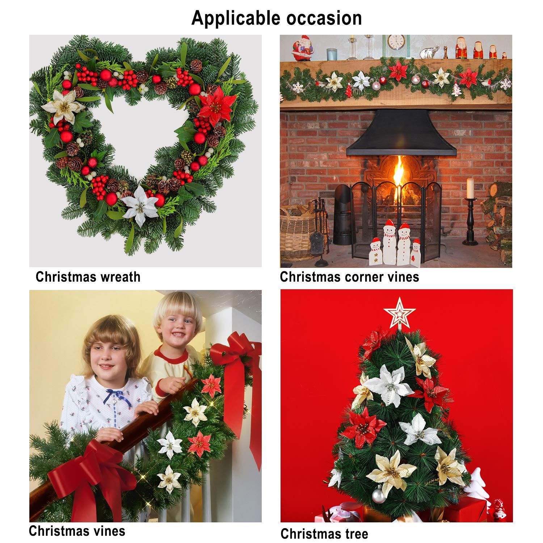 5 Zoll WILLBOND 45 St/ücke Weihnachtsstern Dekorationen Glitzer K/ünstliche Weihnachten Blumen f/ür Weihnachtsbaum Schmuck