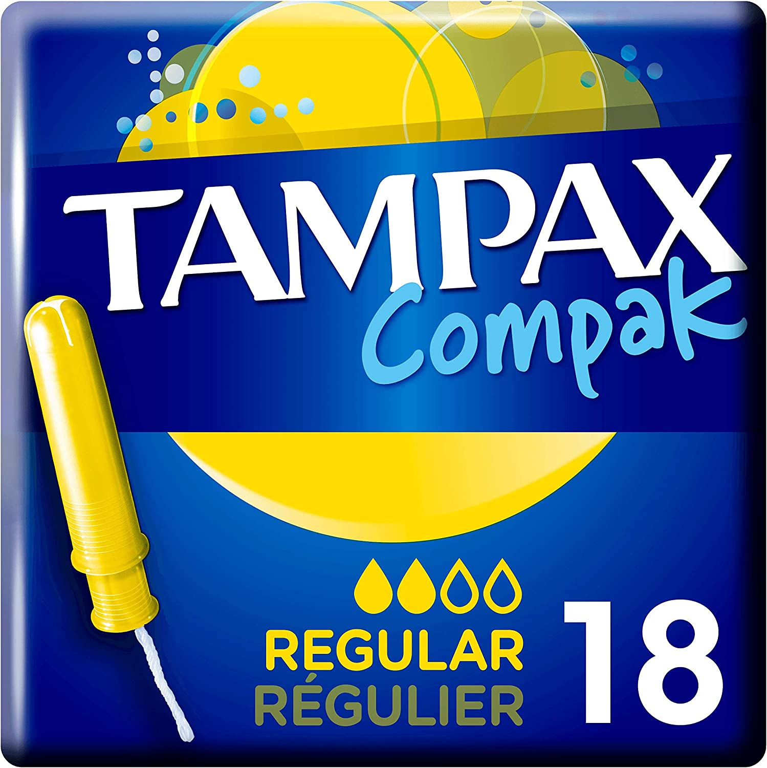 Leak Protection and Discretion 18-Count 6-Pack Feel Clean Tampax Compact Regular Tampons with Applicator