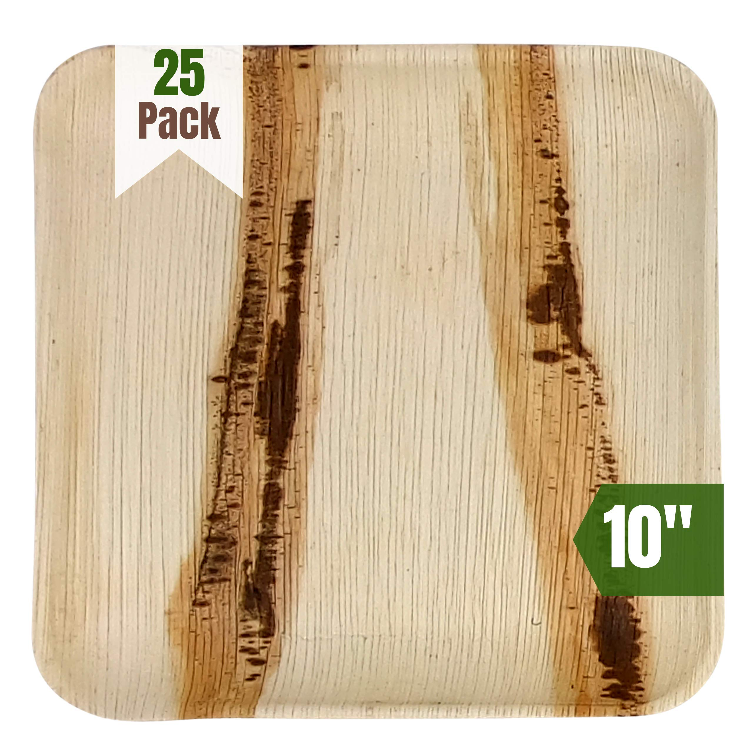 Cutie Green Palm Leaf Plates Set (Pack of 25) - 100% Eco-Friendly, Biodegradable and Compostable Disposable Plates - Heavy-Duty All Natural Dinnerware for Camping, BBQ, Outdoors (10'' Square) by Cutie Green