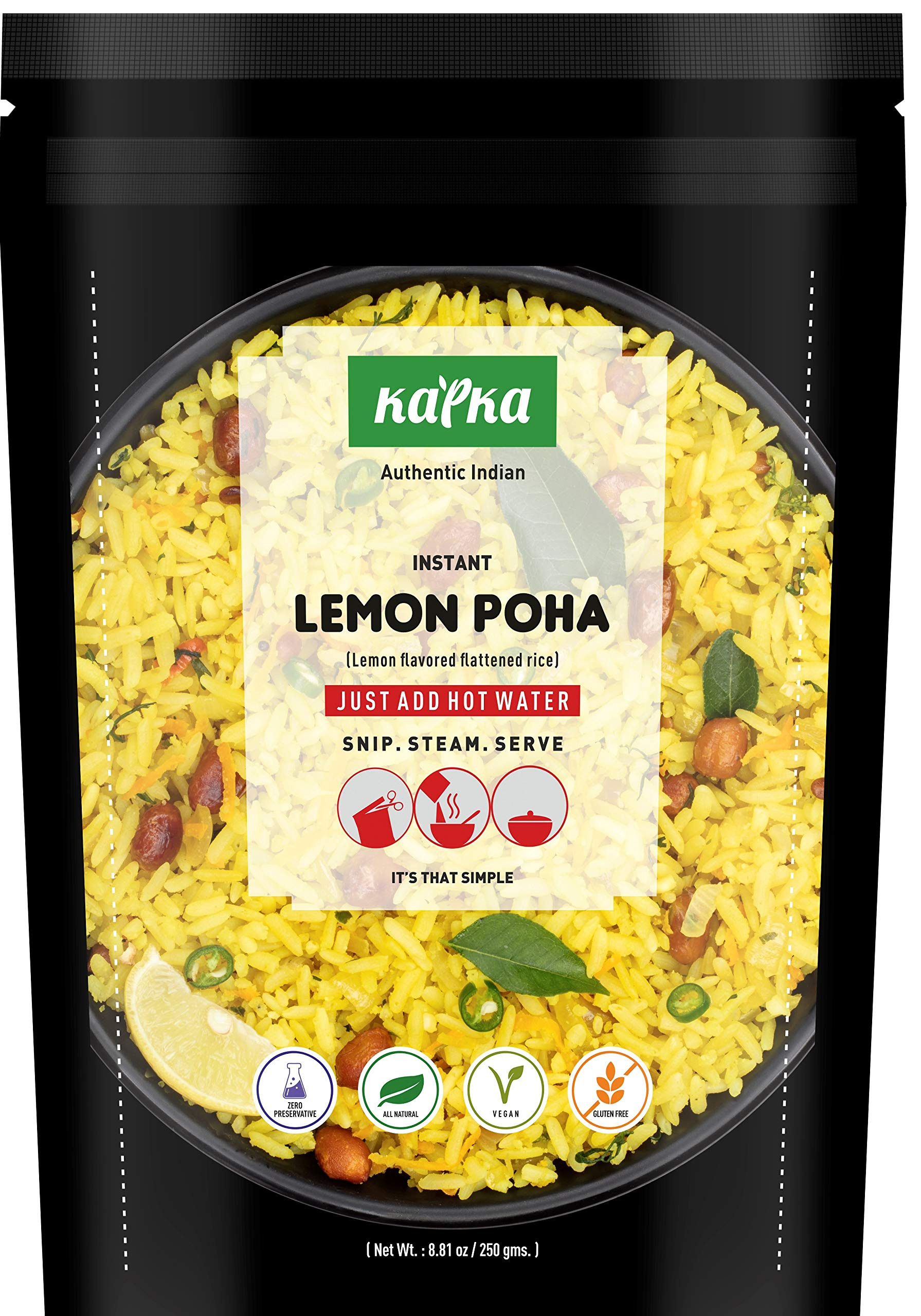 Kapka ''Lemon Poha'' : Vegan & Gluten Free Ready to Cook Meals - All Natural, 100% Vegetarian, Non GMO, Authentic Indian Food, , 8.81oz/250gms (Pack of 3) by Generic