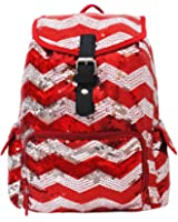 2 Tone Sequin Drawstring Cheer Yoga Dance Girly School Backpack Bookbag (Red)
