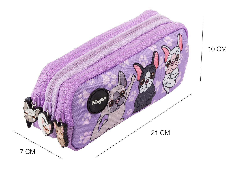 color Holo Doodle para ni/ños 3 Compartments Large divertido y bonito Estuche para l/ápices de 3 compartimentos FRINGOO