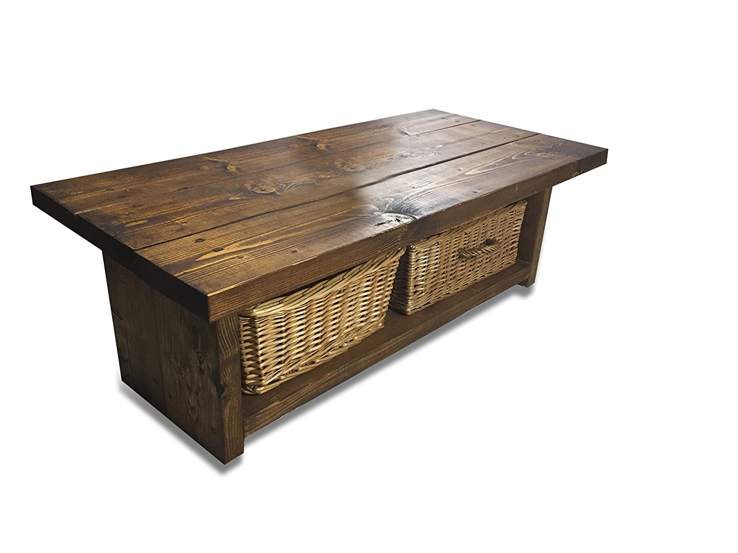 - Solid Rustic Handmade Pine Coffee Table Lymington, Finished In A
