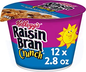 Kellogg's Raisin Bran Crunch, Breakfast Cereal in a Cup, Original, Good Source of Fiber, Bulk Size, 12 Count (Pack of 2, 16.8 oz Trays)