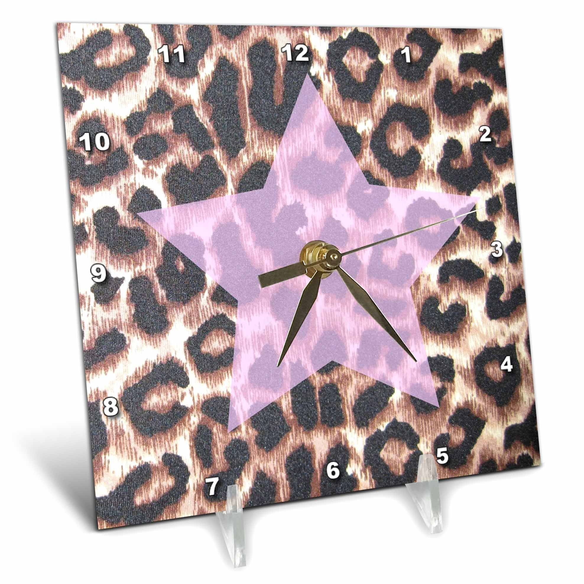 3dRose dc_30876_1 Pink Star Leopard Print Animal Prints-Desk Clock, 6 by 6-Inch