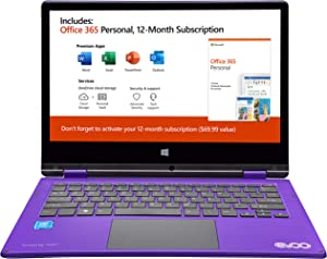 "Evoo TEV-L2IN1-116-2-PR 11.6"" FHD Touchscreen Celeron N3350 1.1GHz 4GB RAM 32GB eMMC Win 10 Home S Mode Purple"