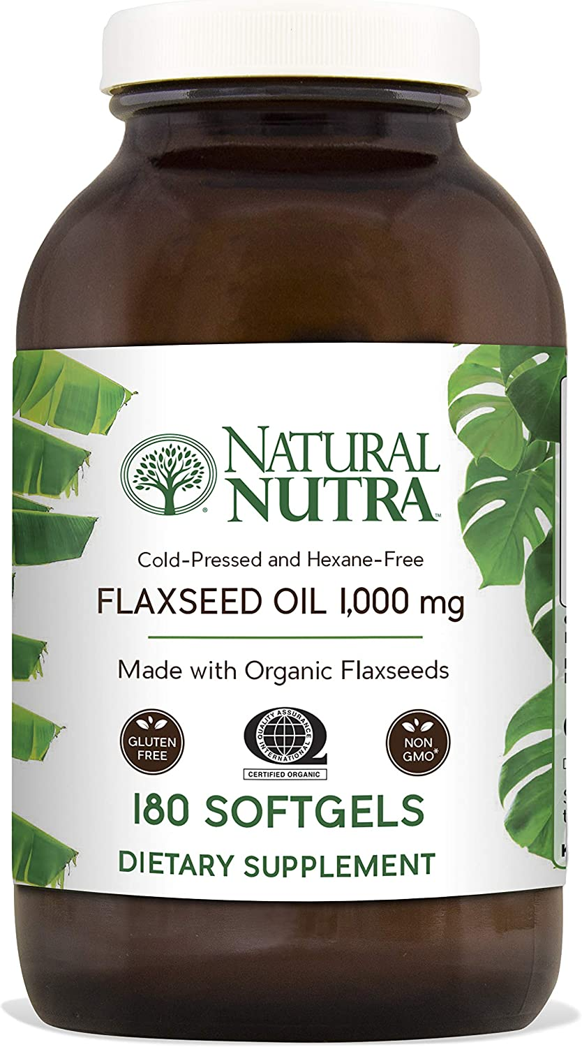Natural Nutra Organic Flaxseed Oil Softgels, Plant Based Omega 3 6 9, Fatty Acids Supplement ALA, LA and Oleic Acid , Cold Pressed, 1000 mg, 180 Capsules