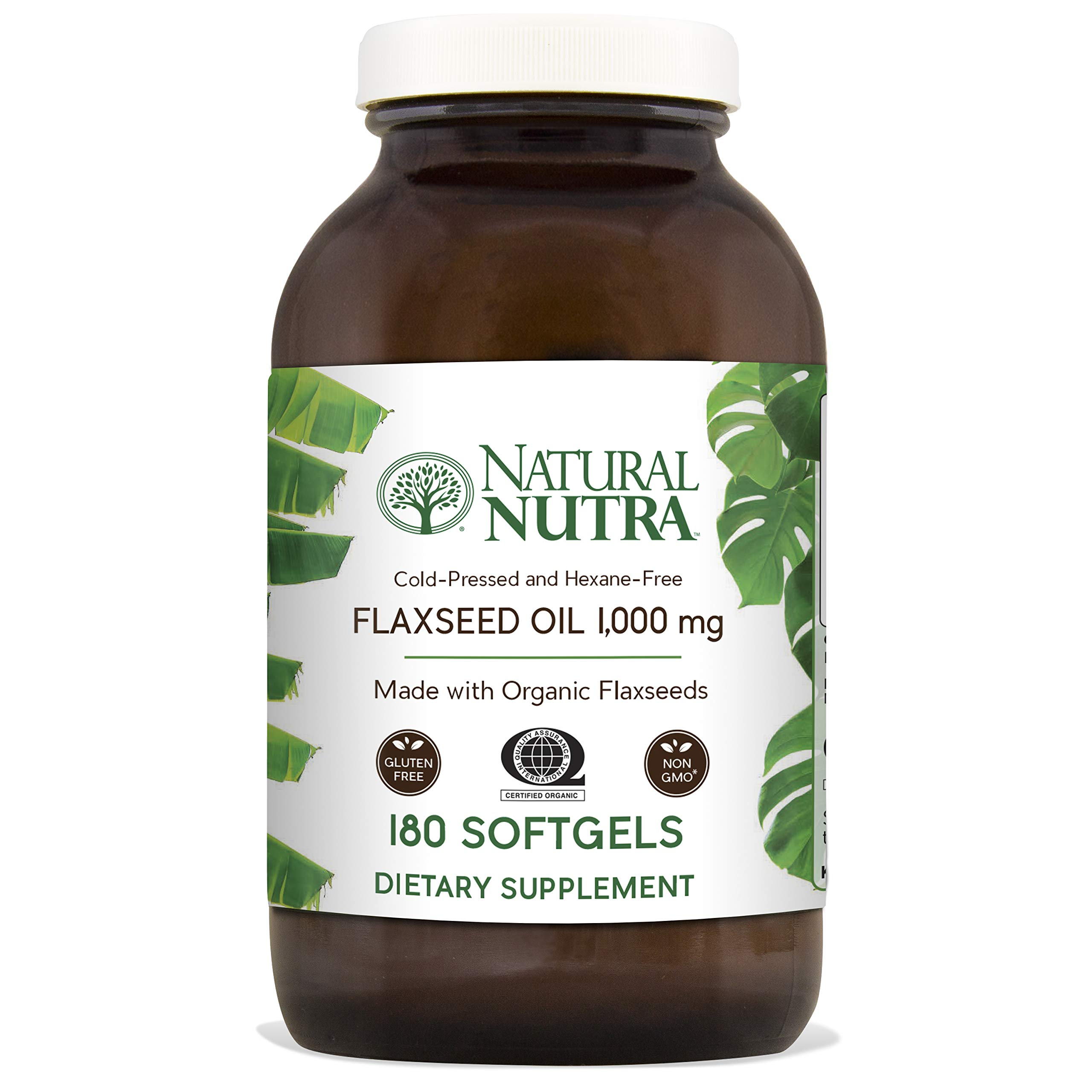 Natural Nutra Organic Flaxseed Oil Softgels, Plant Based Omega 3 6 9, Fatty Acids Supplement (ALA, LA and Oleic Acid), Cold Pressed, 1000 mg, 180 Capsules