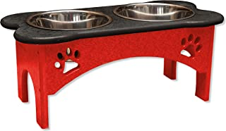 """product image for DutchCrafters 7"""" Tall Raised Dog Double Food Bowl Poly Tray"""