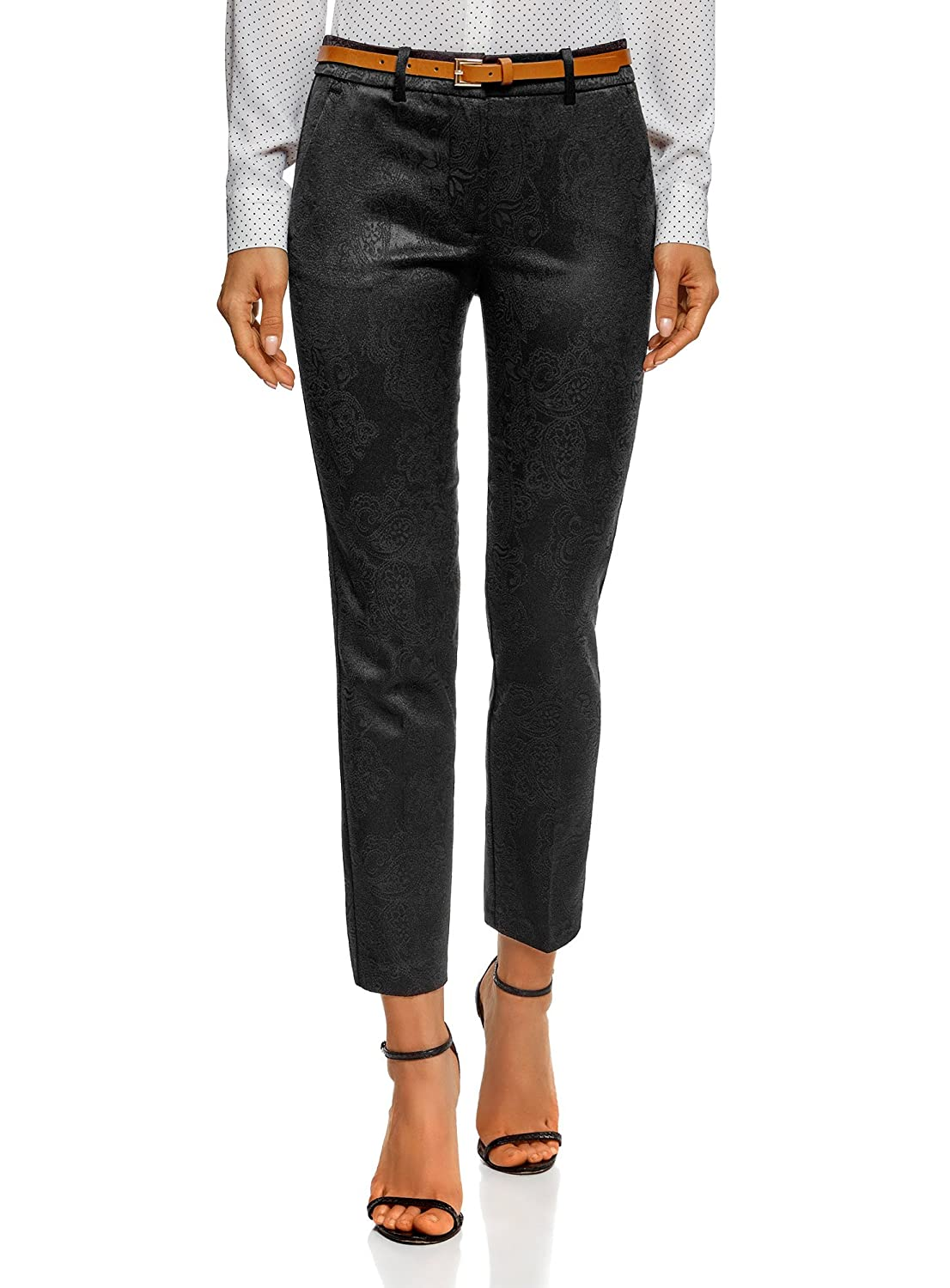 oodji Collection Women's Belted Jacquard Trousers RIFICZECH s.r.o. 21706021