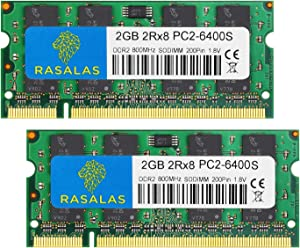 Rasalas DDR2 PC2-6400 DDR2 800 DDR3 Sodimm DDR2 4GB Kit (2x2GB) PC2 6400S 2RX8 1.8V CL6 RAM Memory Modules for Laptop Computer