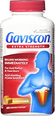 Gaviscon Extra Strength Chewable Foamtabs Butterscotch, Long-lasting Acid Reflux and Heartburn Relief, 60 Ct