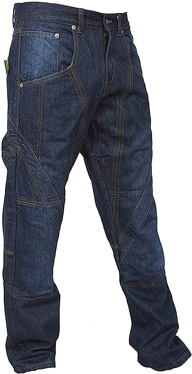 Newfacelook Mens Motorcycle Motorbike Zip Pocket Blue Jeans Trouser Reinforce With Aramid Protection Lining