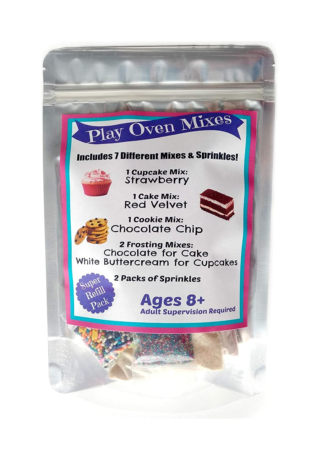 Children's Easy to Bake Oven Mixes Play Toy Oven Real 7 Mixes Mega Refill Kit Strawberry Cupcakes Red Velvet Cake Frosting Sprinkles Ultimate Set Cooking Baking Supplies Super Pack Net Wt 6.2 oz