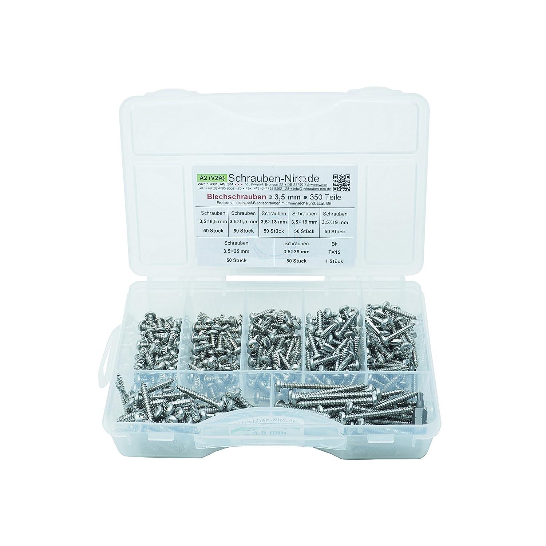 Sortiment Linsenkopf-Blechschrauben Edelstahl Ø 5, 5 mm • ISO 14585 / DIN 7981 • Linsenblechschraube mit Innensechsrund (Torx) T25 • Werkstoff A2 (VA / V2A) schrauben-niro.de ®