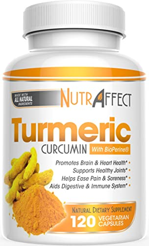 Turmeric Curcumin Capsules with Bioperine Black Pepper Extract – Pure Anti-Inflammatory Knee, Hip, Heart Joint Support Pain Relief Complex – Extra Strength Pills – Best Herbal Health Supplements