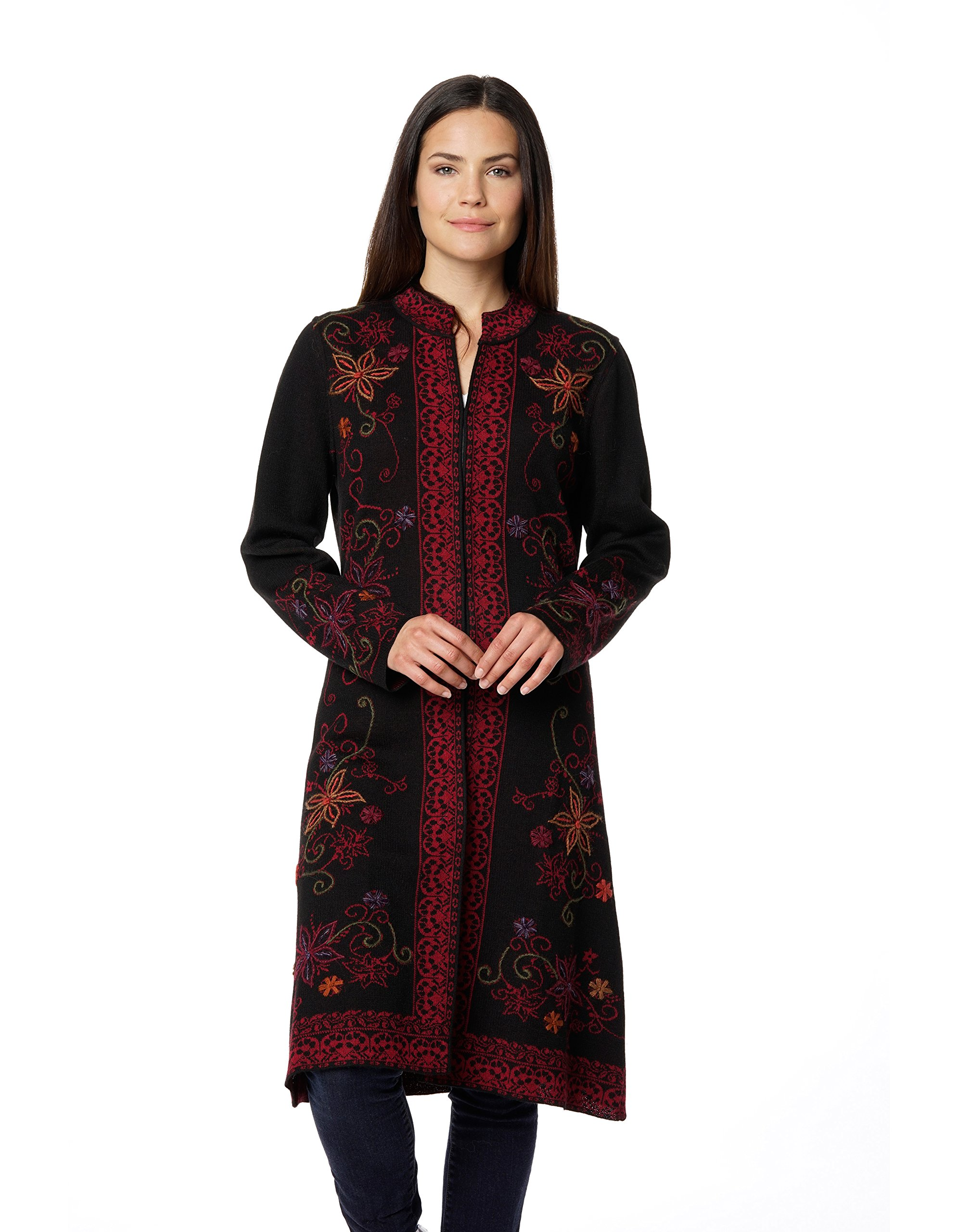 Womens 100% Baby Alpaca Hand-Embroidered Long Cardigan Sweater Coat ''Ottoman''-Md
