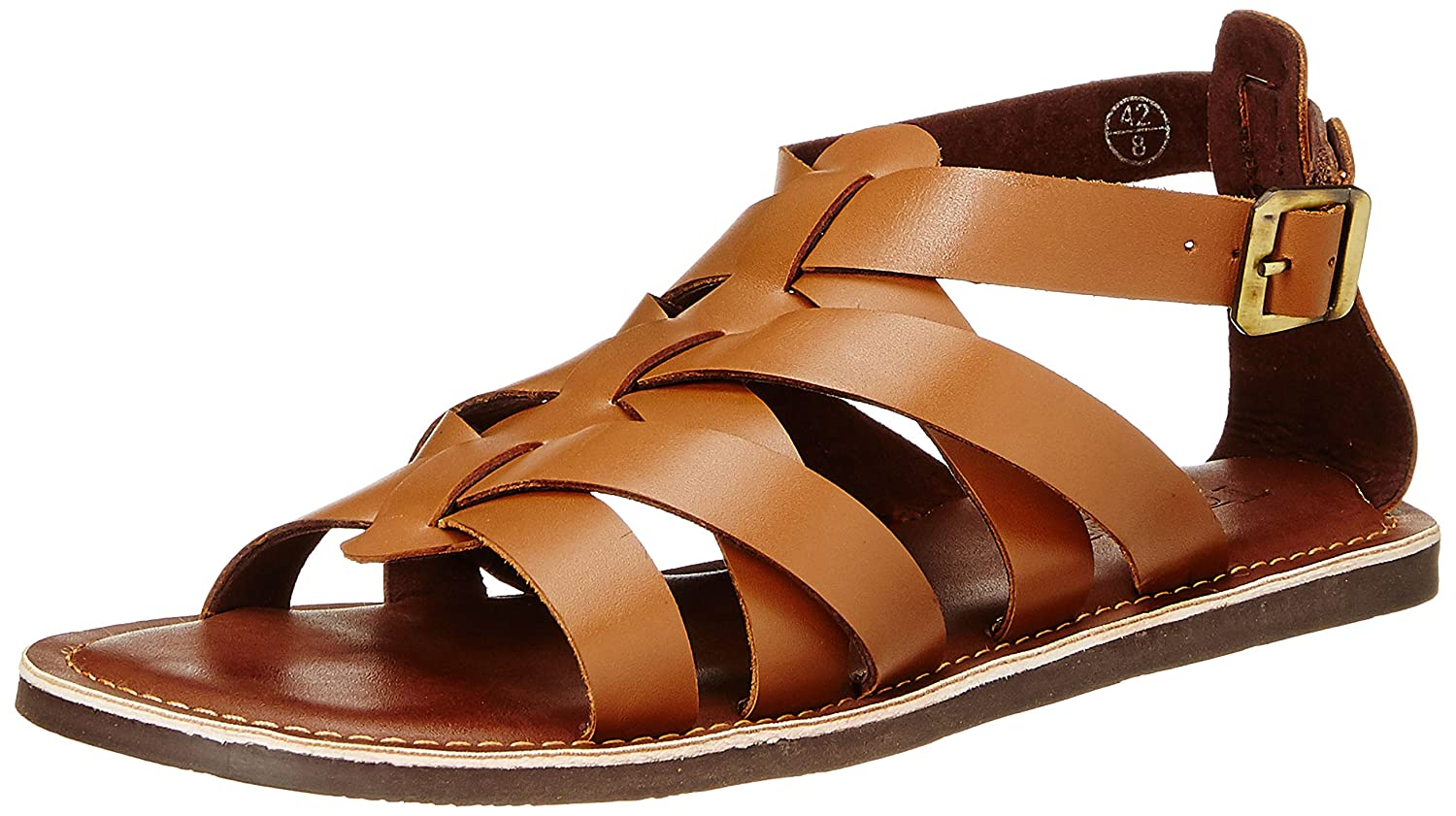 8bf429b894fe76 Tortoise Men s Tan Brown Leather Sandals and Floaters - 10 UK India (45 EU)(TORSD004TB10)   Buy Online at Low Prices in India - Amazon.in