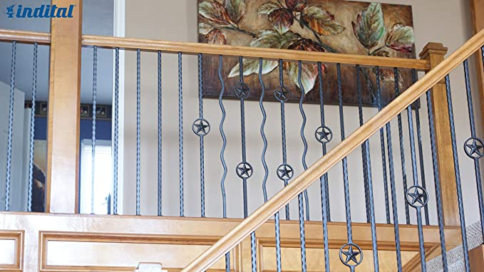 44 3//32 H x 4 3//4 W x 9//16 Sq Indital PC45-2-0002 Powder Coated Wrought Iron Baluster for Stairs and Railings Diameter 22 Double Diamond Design Dark Champagne
