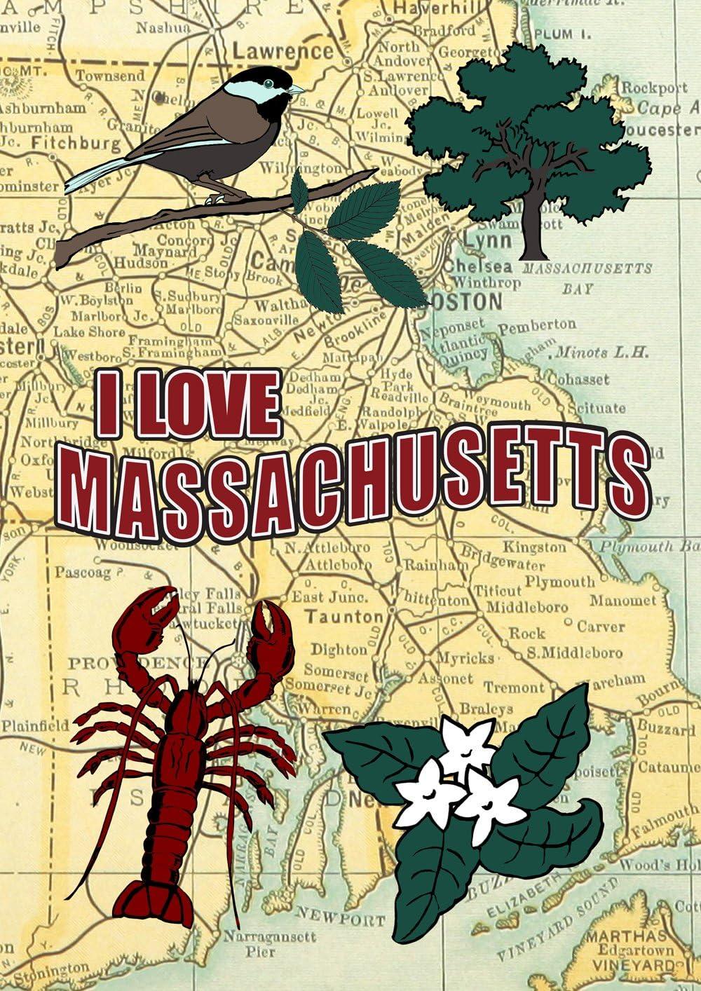 "Toland Home Garden I Love Massachusetts Decorative House Flag 28 by 40"" New England Boston Map, House-large-28x40"