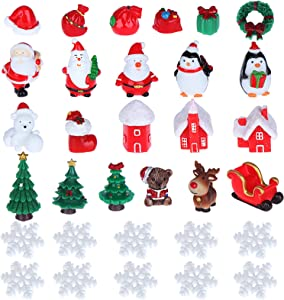 OBANGONG Fairy Garden Christmas Accessories,Christmas Miniature Ornaments,DIY Snow Globe Figurines,Christmas Decorations for Christmas Party