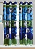 2 Panel Curtain Set for Boys/Teens Soccer Green Blue Black White New
