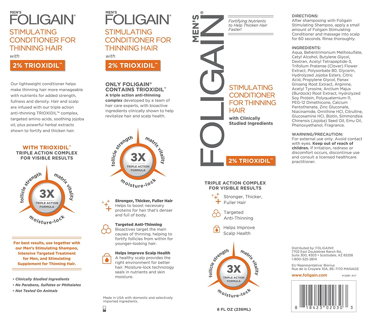 Foligain Triple Action Conditioner For Thinning Hair For Men with 2% Trioxidil   Hair Stimulating Conditioner   Men's Volumizing Conditioner (8oz): Beauty