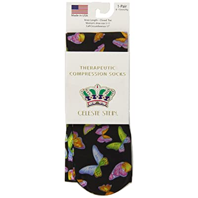 Celeste Stein Therapeutic Compression Socks, Black Butterflies, 8-15 mmhg, .6 Ounce