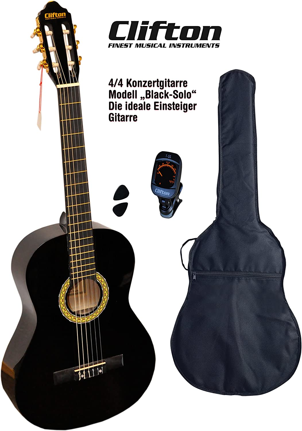 Clifton 4 4 guitarra de concierto Black solo funda acolchada Afinador Digital Con rückengarniture