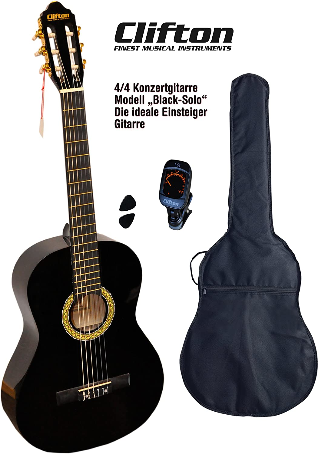 Clifton 4 4 guitarra de concierto Black solo funda acolchada Afinador Digital Con rückengarniture: Amazon.es: Instrumentos musicales