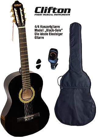 Clifton 4 4 guitarra de concierto Black solo funda acolchada Afinador Digital Con rückengarniture: Amazon.es: Instrumentos musicales