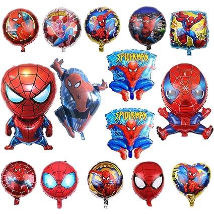 KRUCE 15 PC Globos de Papel de Fiesta de cumpleaños de superhéroe Spiderman, Globos de Papel de superhéroe Spiderman para Regalos de niños Suministros ...