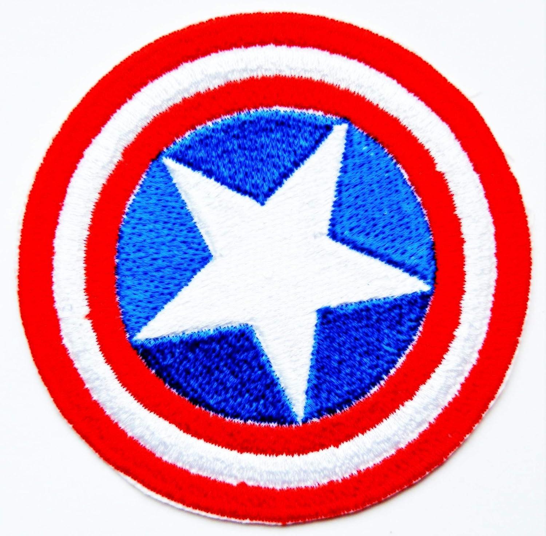 Toppa ricamata termoadesiva con scudo di Capitan America degli Avengers, # 29 Embrologos