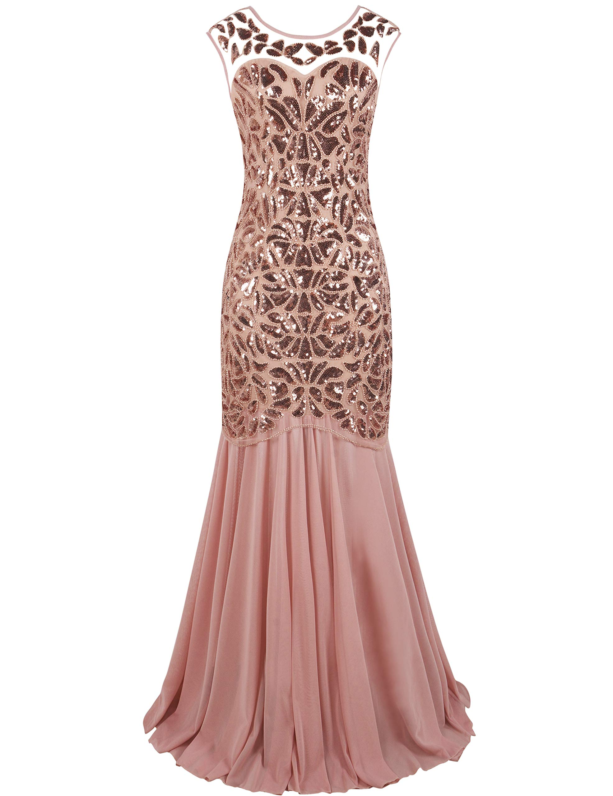 PrettyGuide Women 's 1920s Art Deco Sequin Gatsby Formal Evening Prom Dress L Pink by PrettyGuide