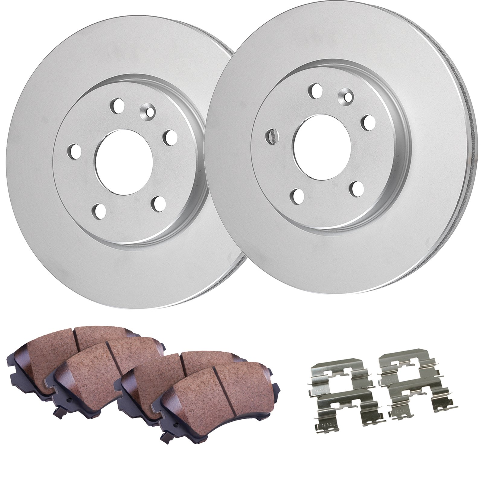 Detroit Axle -Rear Disc Brake Rotors & Ceramic Pads w/Clips Hardware Kit Premium GRADE for 2007-2016 Jeep Wrangler