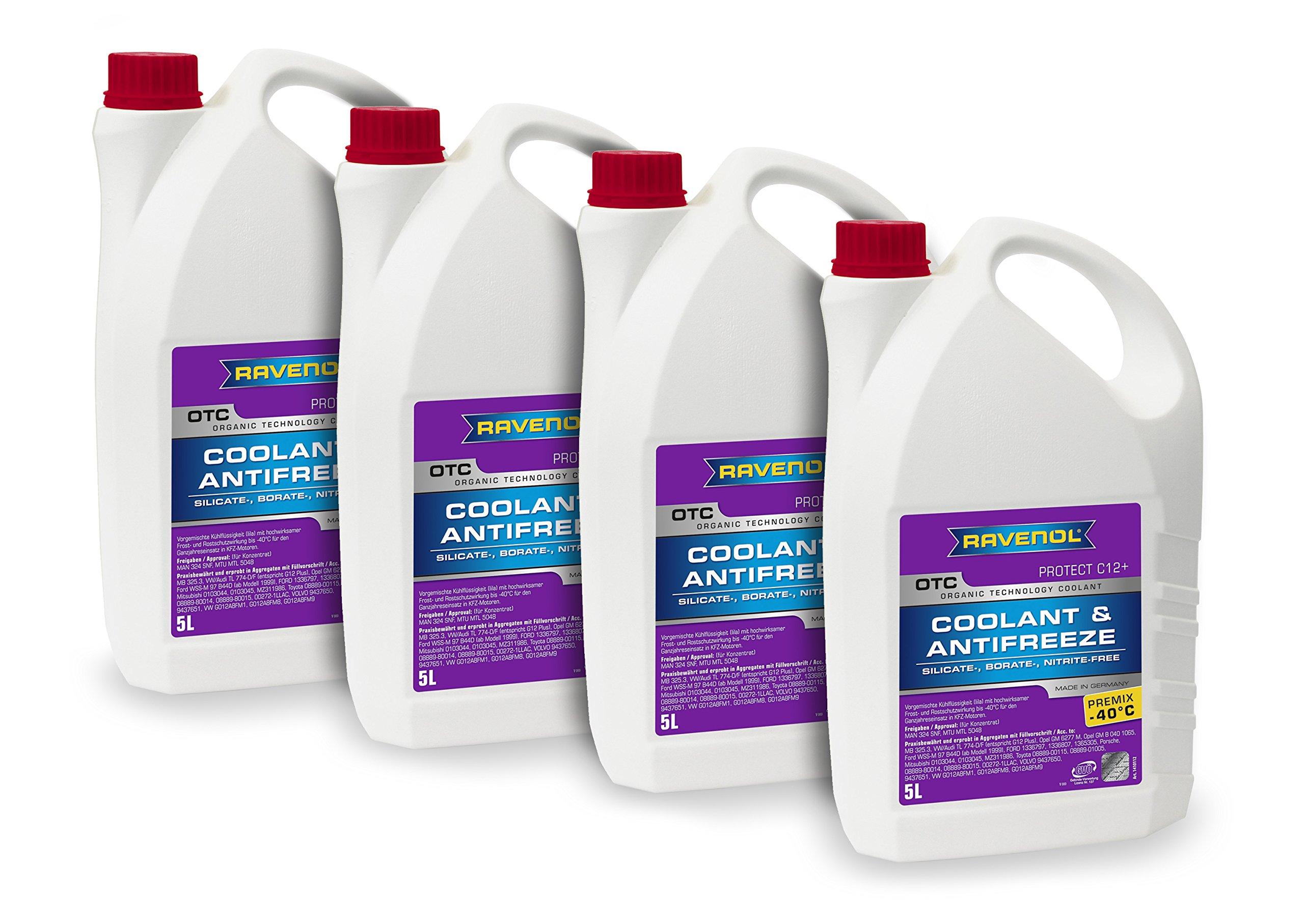 Ravenol J4D2001-1-04 Coolant Antifreeze - OTC C12+ Premix VW TL 774 F (G12 Plus) (5L, Case of 4)