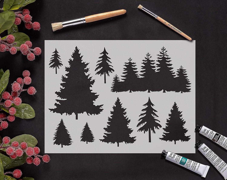 SL-031 GSS Designs Pochoir pour d/écoration darbre bois pochoirs r/éutilisables Grand pochoir 30,5 x 40,6 cm pour la peinture et lartisanat Fen/être murale en tissu