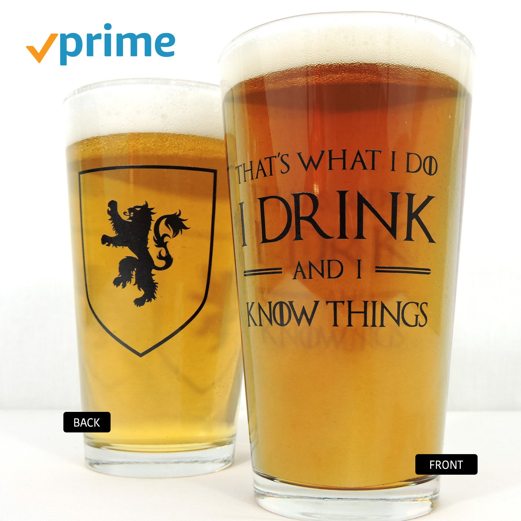 I Drink and I Know Things: Beer Glass - Perfect gift for Game of Thrones fans - Tyrion Lannister Mug Cup - 16oz - Made in USA by Joybomb Gift Co. (Image #1)
