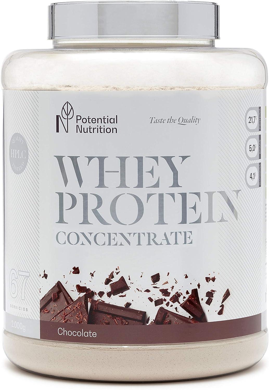 Proteina Whey Premium 2kg - Sabor Chocolate - Marca España - Sin Azúcares añadidos - Potential Nutrition