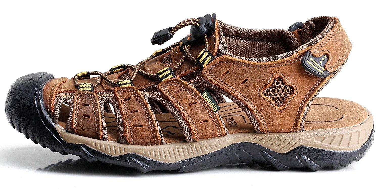 Light Brown 5.0 AU XiXiHao Men's Athletic Sandals Sport Outdoor Water shoes Beach Sandal Waterproof Hiking Sandals for Men