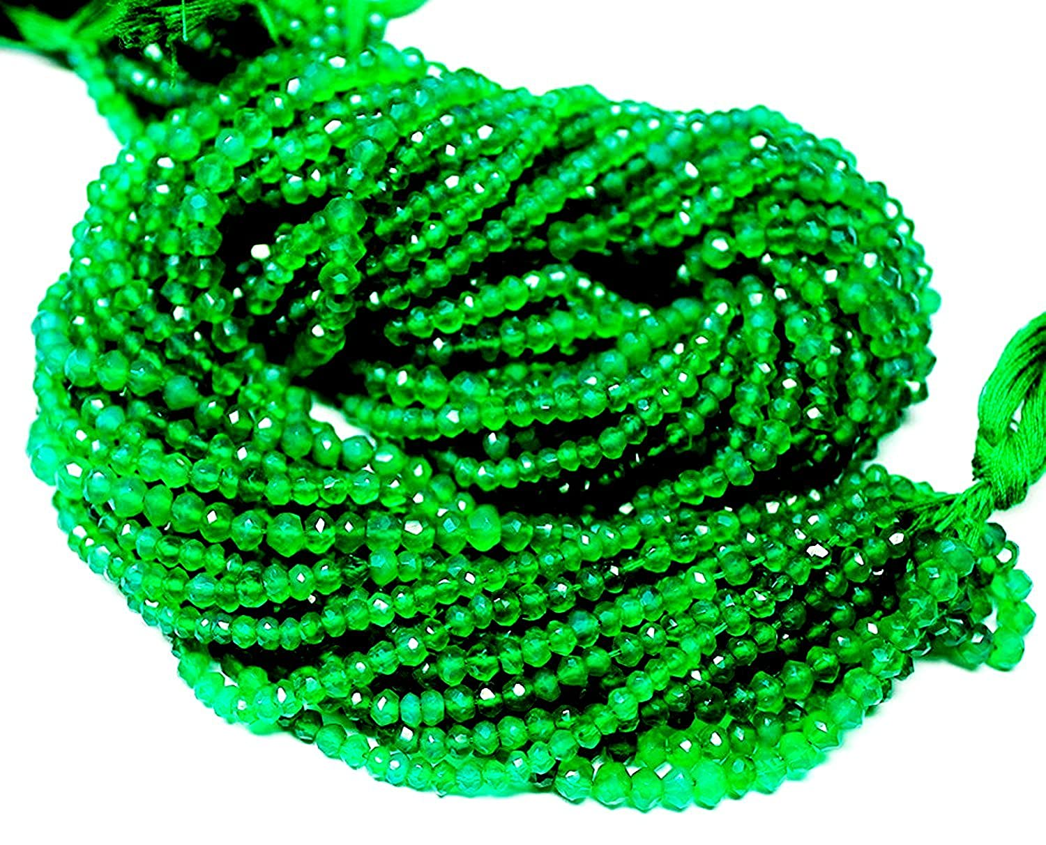 Be You 3-4mm Faceted Rondelle Natural Green Onyx Gemstone Beads 13 Strand ST-GJ-S-56