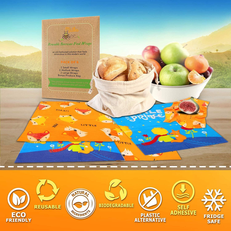 Envoltura de cera de abejas reutilizable, 4 pack envolturas de ...