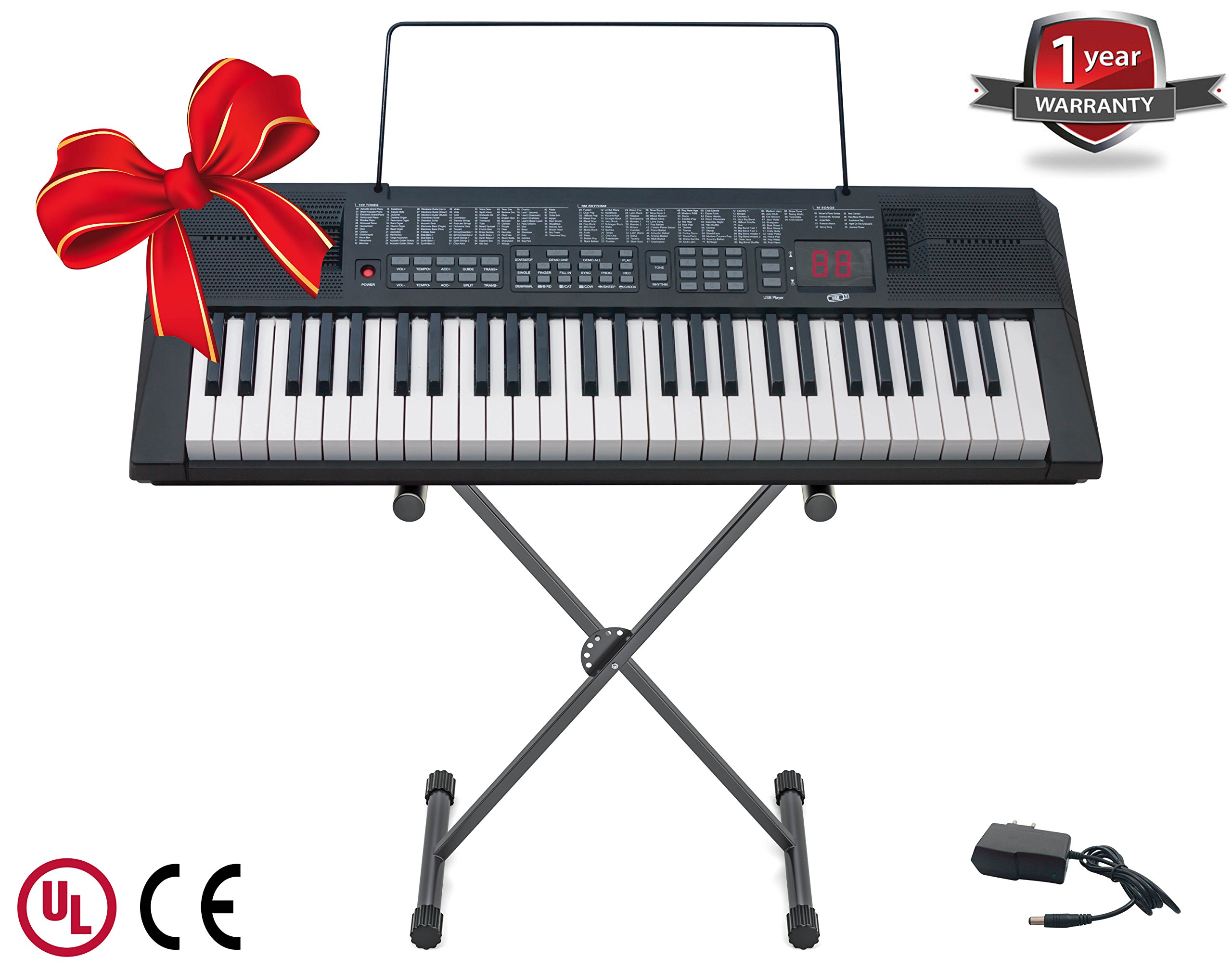Tempi 54-Key Keyboard for Piano Players with Stand and UL Approved Power Supply