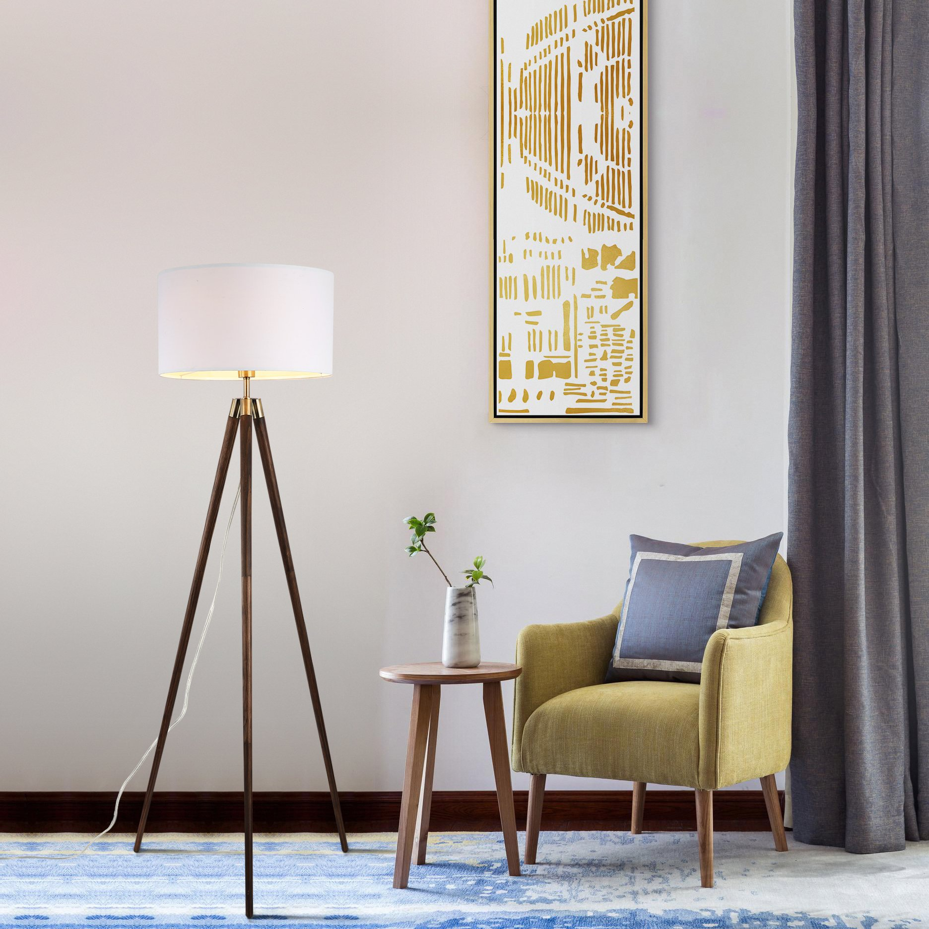 Light Society Celeste Tripod Floor Lamp, Walnut Wood Legs with Antique Brass Finish and White Fabric Shade, Mid Century Contemporary Modern Style (LS-F233-WAL) by Light Society (Image #5)