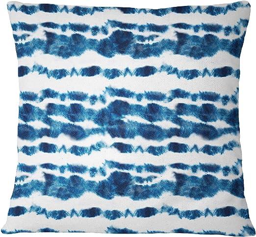 S4Sassy Cojin decorativo de algodon y popelina Shibori Print Cojin azul indigo 2 piezas-22 x 22 pulgadas: Amazon.es: Hogar
