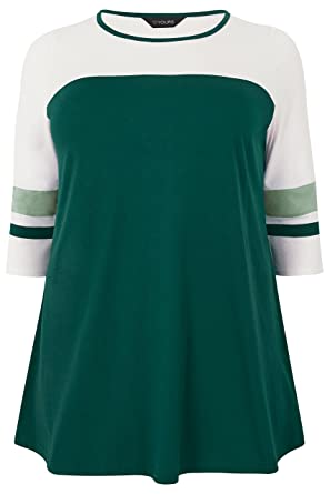 6225a4a2f8e53 Yours Clothing Women s Plus Size Dark Colour Block Top Size 16 Green ...