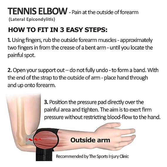 Amazon.com : 4DflexiSPORT Tennis Elbow Forearm Brace (Black) Lateral ...