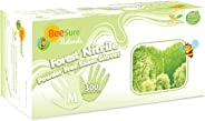 BeeSure BE2947case Naturals Forest Exam Gloves, Powder Free, Nitrile, Beaded-Cuff, Medium, Green (Pack of 3000)