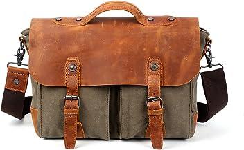 bcfec5daf05a Travel Log Sahara Messenger Bag Genuine Canvas and Leather Bag (Olive)
