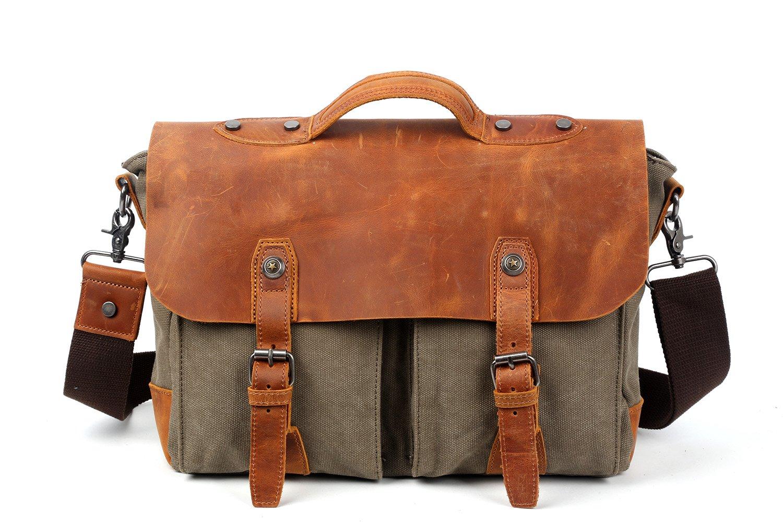 Travel Log Sahara Messenger Bag Genuine Canvas and Leather Bag (Olive)